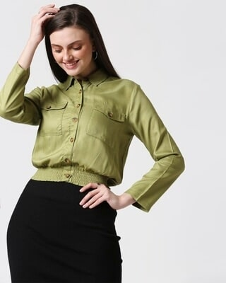 Shop Womens Solid Smoked Waist Top-Front