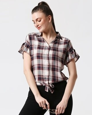Shop Womens Checks Tie Up Shirt-Front