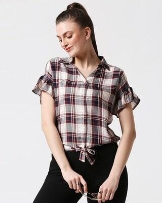Shop Womens Checks Tie Up Shirt-Front