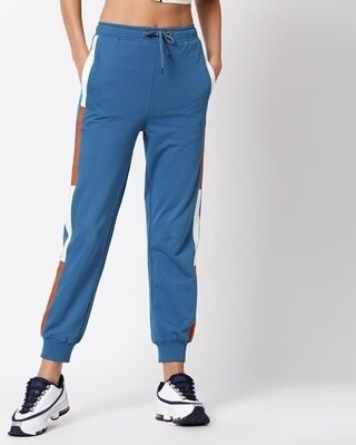 Shop Digi Teal High Waist Side Panel Jogger-Front