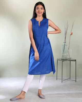 Shop Women's Cotton Swiss Dot Dobby Sleeveless Classic Blue Kurta with Belt Tie Up-Front