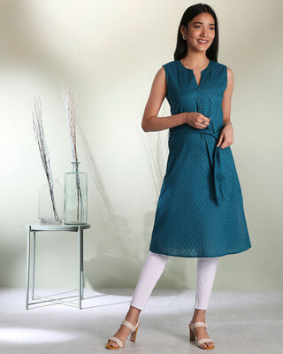 Shop Women's Cotton Swiss Dot Dobby Sleeveless  Kurta with Belt Tie Up-Front