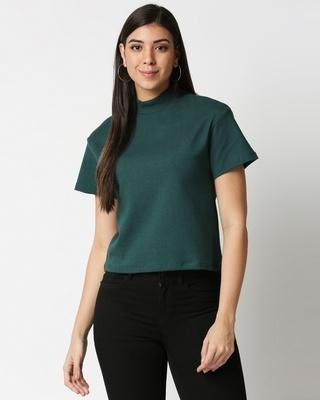 Shop Women's Dark Forest Green Turtle Neck Rib T-Shirt-Front