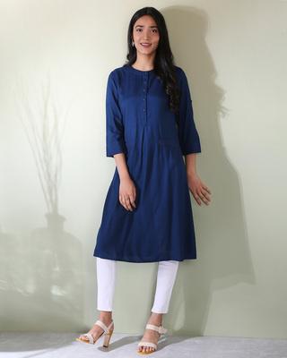Shop Women's Embroiderred Pocket Classic Blue Kurta-Front