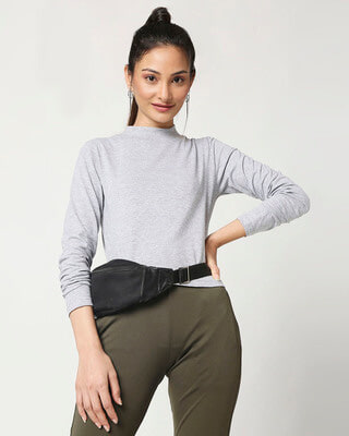 Shop Women's Grey Melange Snug Top-Front