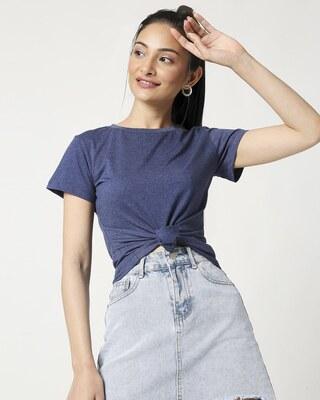 Shop Women's Half Sleeve Navy Melange T-Shirt-Front
