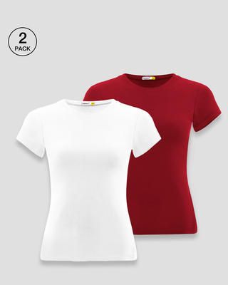 Shop Women's Half Sleeve T-shirt-Pack of 2 Combo Whtie-Red-Front