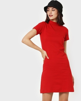 Shop Women's High Neck Ribbed Dress-Front