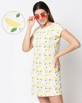 Shop Women's Lemon All Over Printed Night Dress-Front
