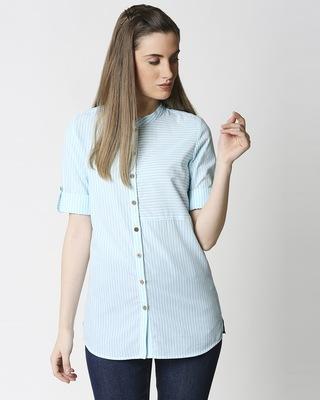 Shop Women's Light Blue Yarn Dyed Striper Tunic-Front