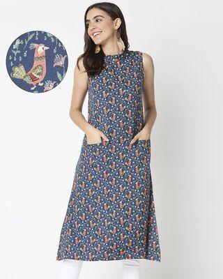 Shop Women's Navy Printed Sleeveless Kurti Dress-Front