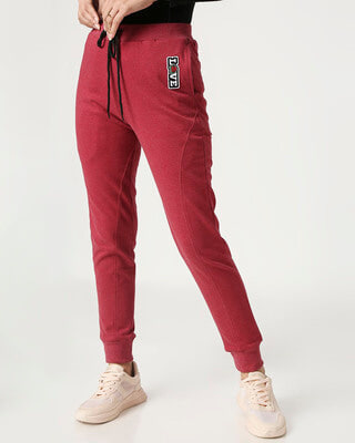 Shop Women's Maroon Melange Twisted Jogger-Front