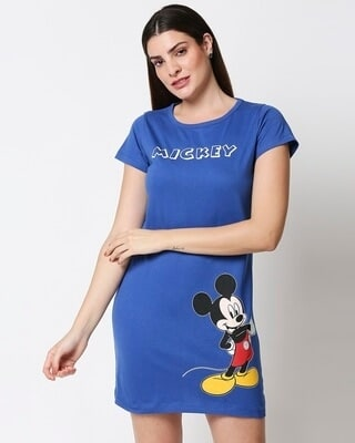 Shop Womens Mickey T-shirt Night Dress-Front