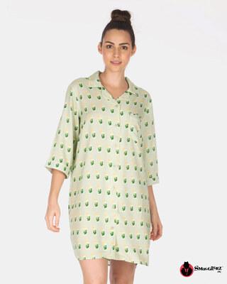 Shop Smugglerz Women's Mohito Nightdress Green-Front