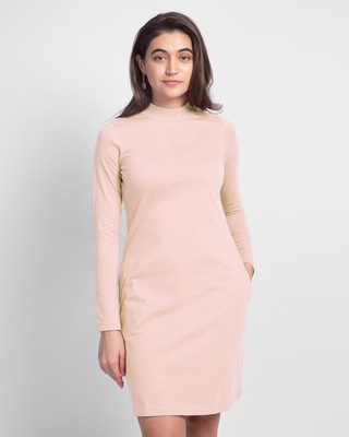 Shop Women's Plain High Neck Pocket Dress -Pink-Front