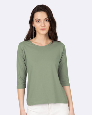 Shop Women's Plain Round Neck 3/4 Sleeve T-Shirts -Green-Front
