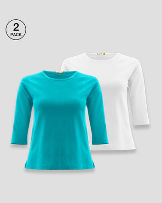 Shop Women's Plain Round Neck 3/4th Sleeve T-shirt - Pack of 2 (Blue 91-White 01)-Front