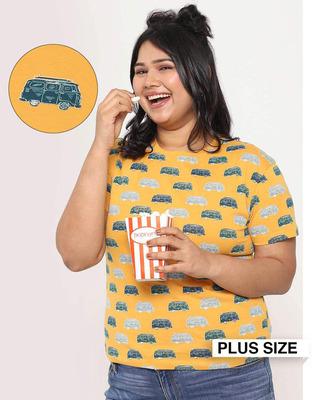 Shop Popcorn Yellow Aop Half Sleeve T-Shirt-Front