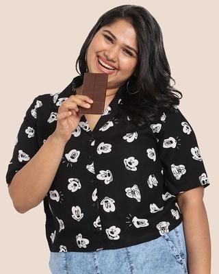Shop Women's Printed Resort Collar Curvy Shirt-Front