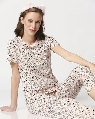 Shop Women's Printed T-Shirt & Pyjama Night Suit-Front