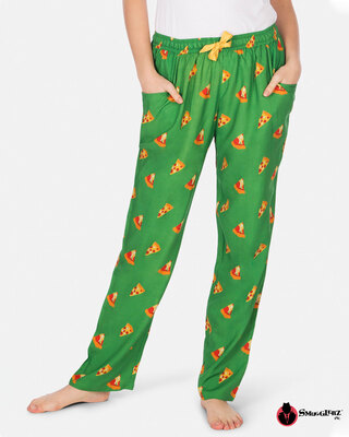 Shop Smugglerz Women's Pyjamas Pizza Green-Front