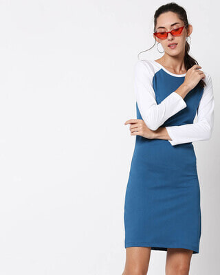 Shop Digi Teal Raglan Dress-Front