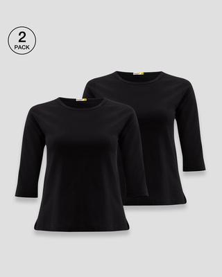 Shop Women's Round Neck 3/4 Sleeve T-Shirts-Combo-Black-Black-Front