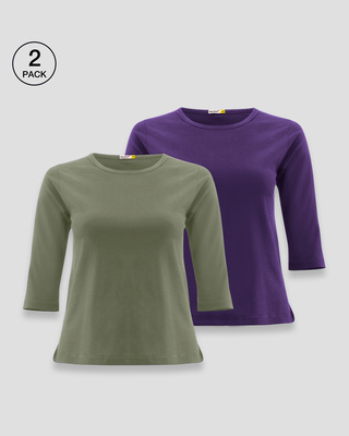 Shop Women's Round Neck 3/4 Sleeve T-Shirts-Combo-Green-Purple-Front