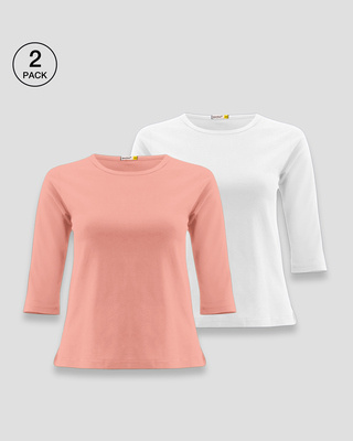 Shop Women's Round Neck 3/4 Sleeve Combo T-Shirts Pink-White-Front