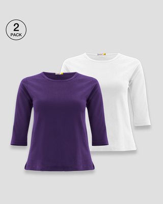 Shop Women's Round Neck 3/4 Sleeve T-Shirts-Combo-Purple-white-Front