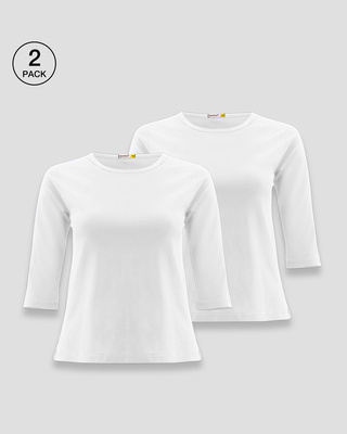 Shop Women's Round Neck 3/4 Sleeve T-Shirts-Combo-White-White-Front