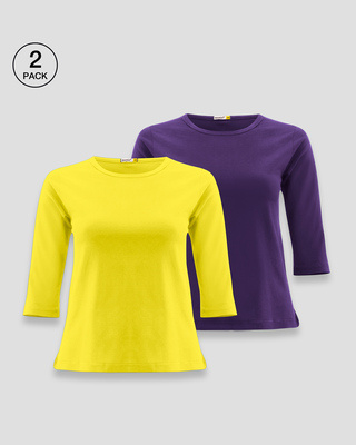 Shop Women's Round Neck 3/4 Sleeve T-Shirts-Combo-Yellow-Purple-Front