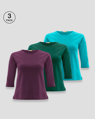 Shop Women's Round Neck 3/4th Sleeve T-Shirt Pack of 3(Purplle,Green & Blue)-Front