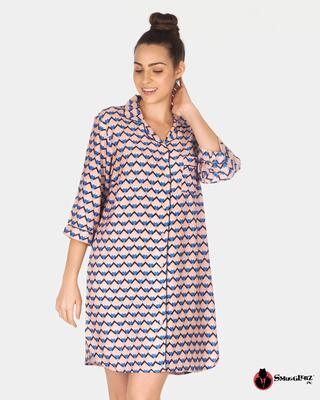 Shop Smugglerz Women's Sicilian Tile Nightdress Pink-Front