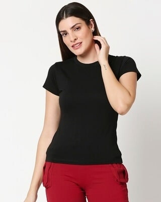 Shop Women's Solid Black Lounge T-shirt-Front