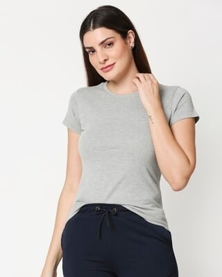 Shop Women's Solid Grey Loune T-shirt-Front