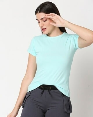 Shop Women's Solid Light Blue Lounge T-shirt-Front