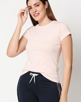 Shop Women's Solid Light Pink Lounge T-shirt-Front