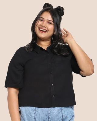 Shop Women's Solid Resort Collar Curvy Shirt-Front
