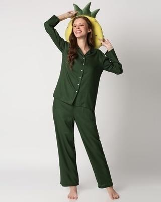 Shop Women's Solid Shirt & Pyjama Night Suit-Front
