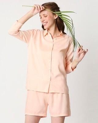 Shop Women's Solid Shirt & Shorts Night Suit-Front