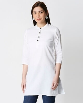 Shop Women's Solid White Short Kurta-Front