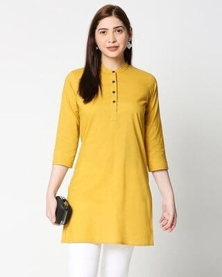 Shop Women's Solid Yellow Short Kurta-Front