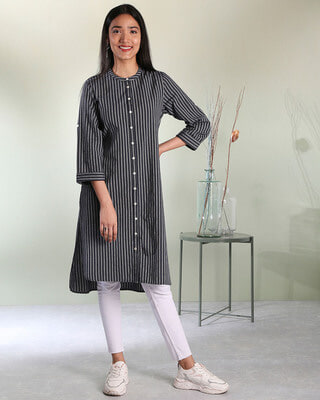 Shop Women's Stripe Mandarin Collar Button Down Side Slit Kurta-Front