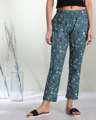 Shop Women's Teal Printed Pyjama-Front