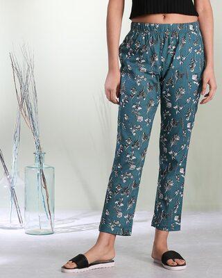 Shop Women's Teal Printed Pyjama-Front