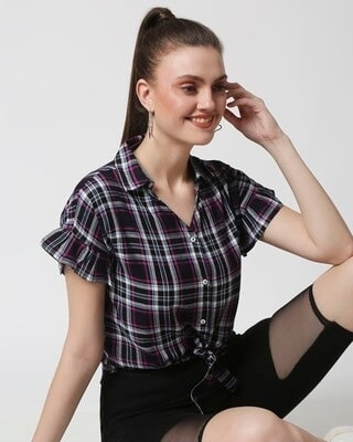 Shop Womens Checks Shirt Tie Up Top-Front