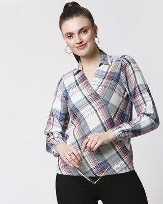 Shop Womens Checks Overlap Shirt Top-Front