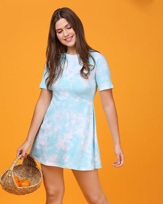 Shop Beach Blue Tie & Dye Print Flared Dress-Front