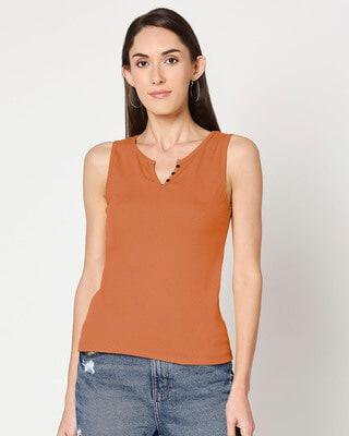 Shop Women Sleeveless Henley Rib T-shirt-Front